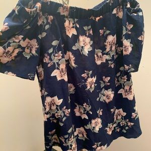 Navy blue-floral print- off the shoulder top